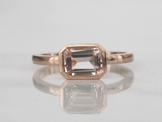 Emerald Cut Morganite Bezel Ring in 14K Rose Gold