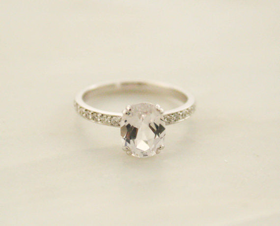 Oval White Sapphire Solitaire Diamond Engagement Ring in 14K White Gold