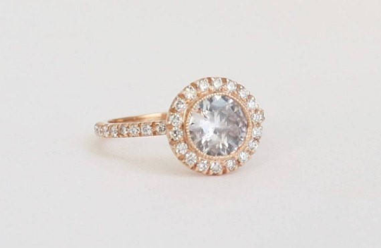 White Sapphire Diamond Halo Engagement Ring in 14K Rose Gold