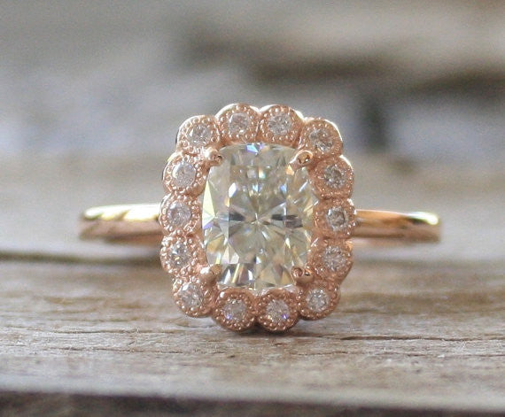 Cushion Cut Moissanite Diamond Engagement Ring in 14K Rose Gold
