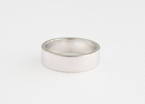 Matte Finish 6mm Men's Flat/Square Band in 14K White Gold