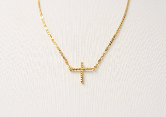 Bead Style Cross Pendant/Necklace in 14K Yellow Gold
