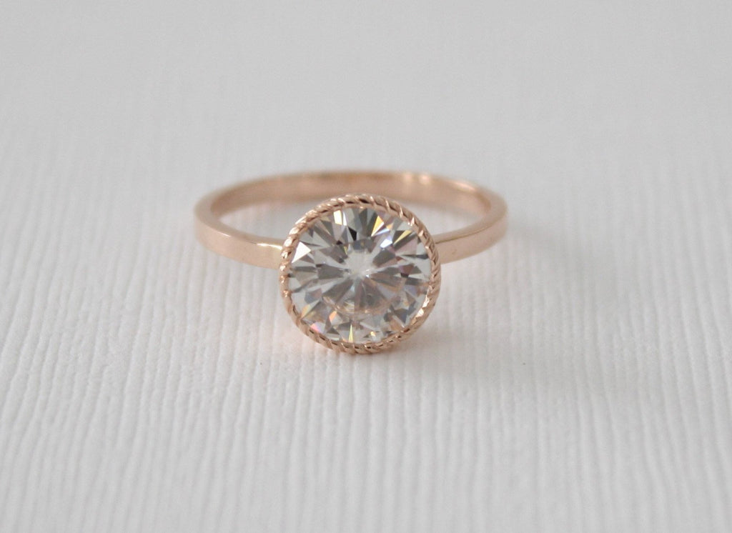 Forever One Round Moissanite Engraved Bezel Ring in 14K Rose Gold