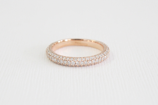 3-Row Micro Pave' Diamond Band in 18K Rose Gold