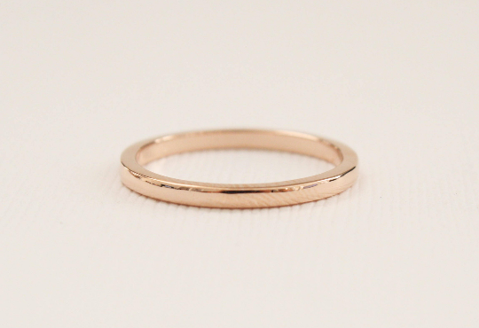 Handmade 2 mm Solid Gold Wedding Band in 14K Rose Gold