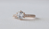 White Sapphire Prong Set Solitaire Diamond Ring in 14K Rose Gold