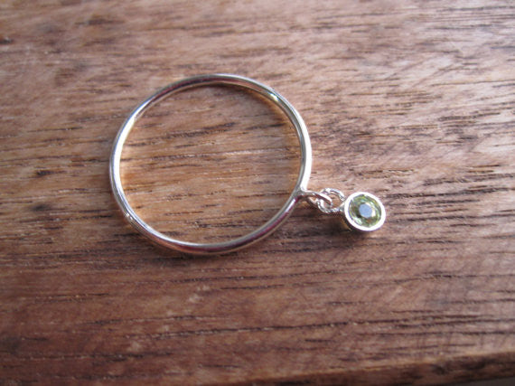 August Birthstone Peridot Dangle Ring in 14K Solid Gold