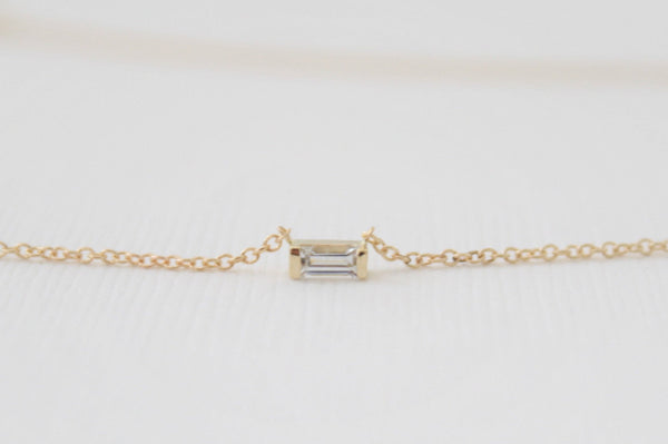 Baguette Cut White Sapphire Bar Necklace in 14K Yellow Gold