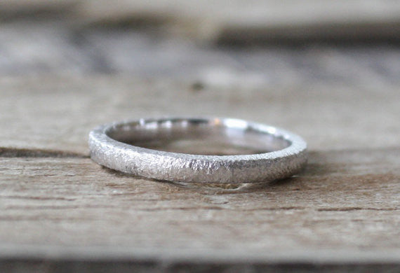 Handmade 14K White Gold Textured Band