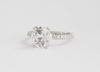 Round Brilliant Cut White Sapphire Solitaire Diamond Engagement Ring in 14K White Gold