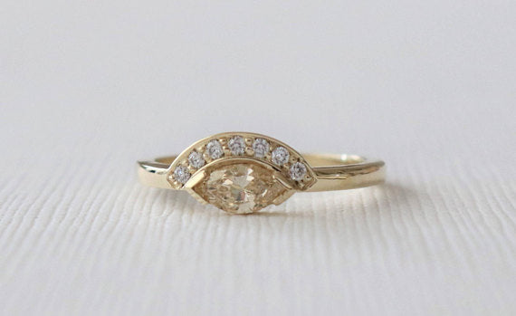 Marquise Tiara Style Champagne Diamond Ring in 14K Yellow Gold