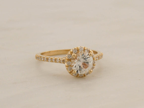 White Sapphire and Diamond Halo Engagement Ring in 14K Yellow Gold