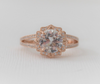 White Sapphire Split Shank Diamond Engagement Ring in 14K Rose Gold