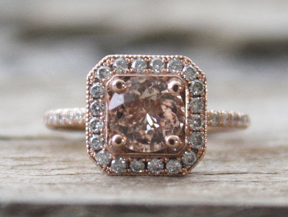 Morganite Diamond Halo Ring 14K Rose Gold