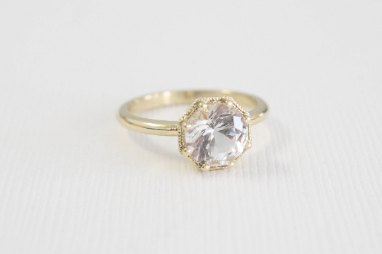 Round Brilliant Cut White Sapphire Solitaire Ring in 14K Yellow Gold
