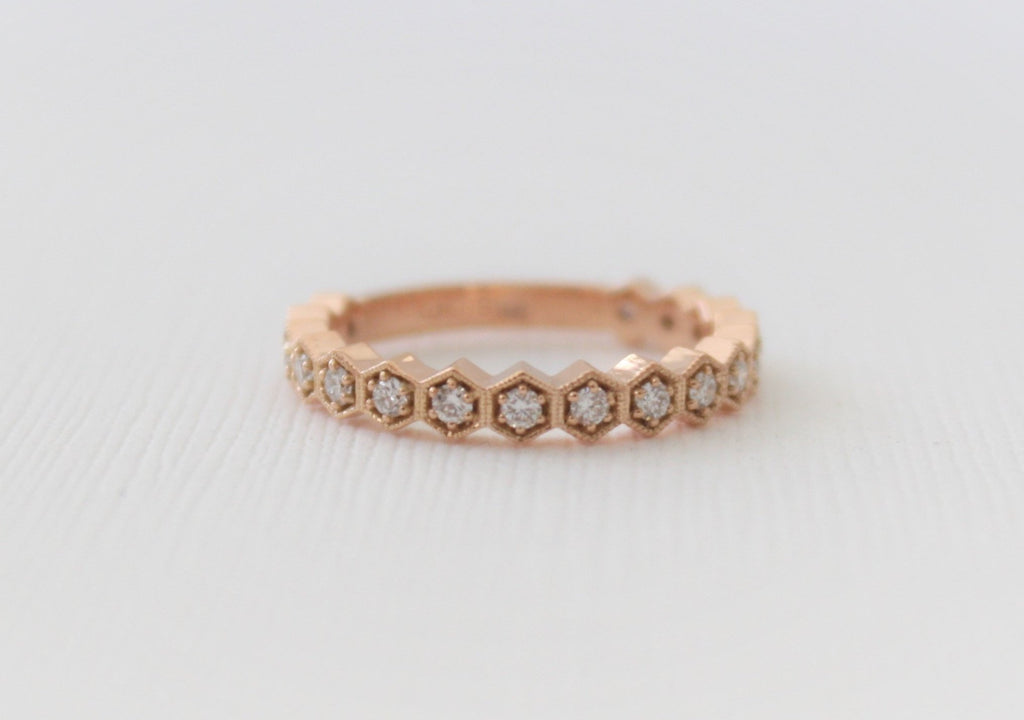 Milgrained Hexagon Bezel Diamond Eternity Ring in 14K Rose Gold