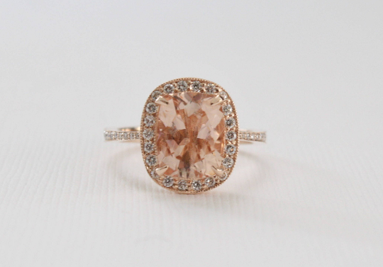 Rectangular Cushion Cut Morganite Diamond Milgrained Halo Ring in 14K Rose Gold
