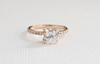 Cushion Cut White Sapphire Solitaire Split Prong Diamond Ring in 14K Rose Gold