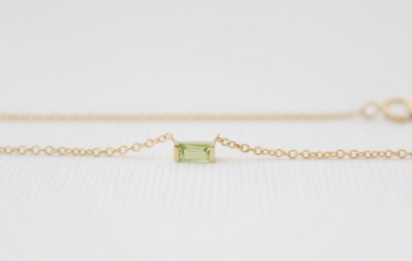 Baguette Cut Peridot Bar Necklace in 14K Yellow Gold