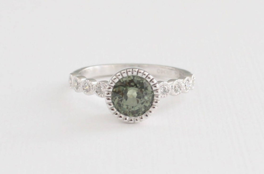 Mint Green Sapphire MIlgrain Bezel Diamond Ring in 14K White Gold