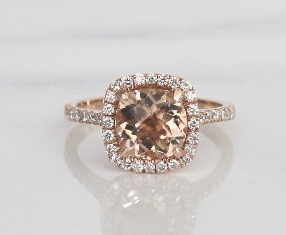 Cushion Cut Morganite Diamond Halo Ring in 14K Rose Gold