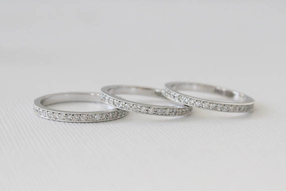 Full Eternity Pave' Diamond Milgrained Ring in 14K White Gold
