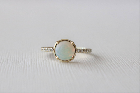 Fiery Opal Solitaire Diamond Ring in 14K Yellow Gold