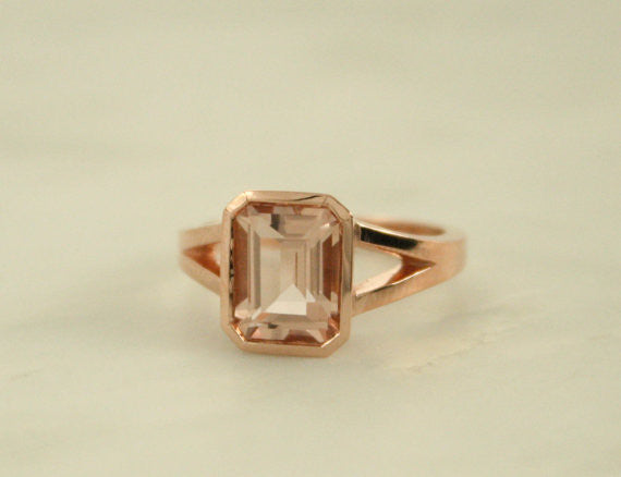 Emerald Cut Morganite Split Shank Bezel Ring in 14K Rose Gold