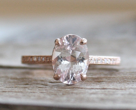 Oval Solitaire White Sapphire Ring in 14K Rose Gold