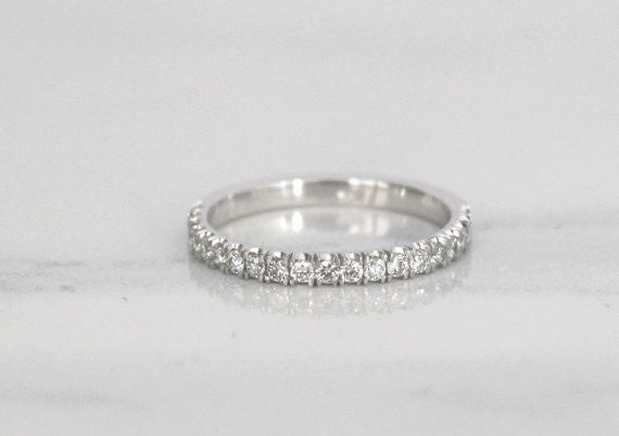 Handmade 2 mm Half Eternity Diamond Stacking Ring in 14K White Gold