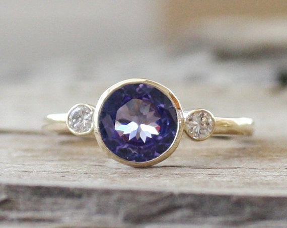 3 Stone Tanzanite and Diamond Bezel Ring in 14K Yellow Gold