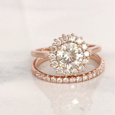 SET - Forever One Moissanite Engagement Rings in 14K Rose Gold Halo Setting