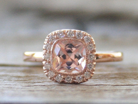 Cushion Morganite Diamond Milgrain Halo Engagement Ring in 14K Rose Gold