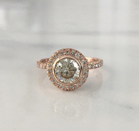 Forever One Halo Engagement Ring in 14K Rose Gold