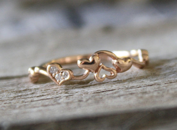 Dancing Hearts Rose Gold Diamond Eternity Ring
