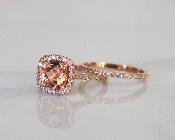 SET - Cushion Morganite Engagement Rings in 14K Rose Gold Halo White Sapphire Setting