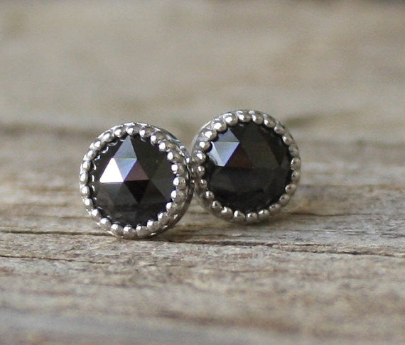 Rose Cut Black Diamond Stud Earrings in 14K Milgrain Gold