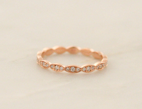 2 mm Scalloped Style Eternity Ring in 14K Rose Gold