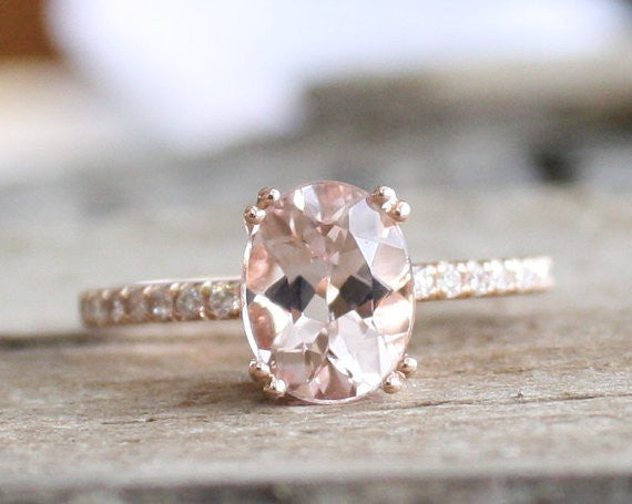 2.20 Ct. Oval Morganite Diamond Engagement Ring in 14K Rose Gold