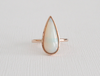 Pear Cut Opal Bezel Ring in 14K Rose Gold
