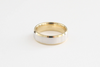 Handmade Beveled Men's Wedding Band in 14K Two Tone White and Yellow Gold