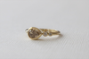 Pear Cut Champagne Diamond Bezel Ring in 18K Yellow Gold