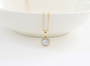 Moonstone and Diamond Halo Pendant/Necklace in 14K Yellow Gold