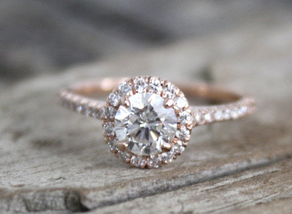 1.01 Ctw. Round Diamond Halo Engagement Ring in 14K Rose Gold