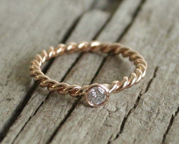 Twist Diamond Ring 14K Rose Gold