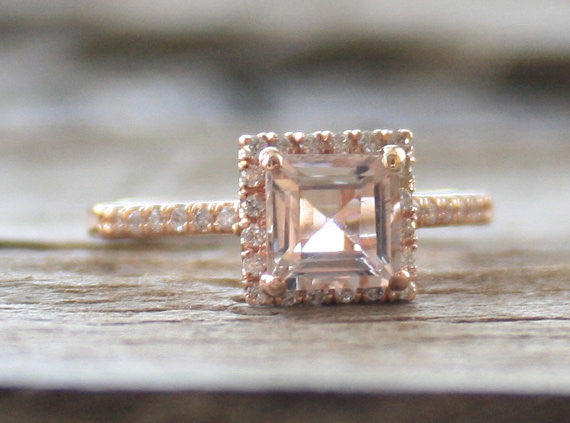 Peachy Pink Asscher Cut Morganite Diamond Halo Ring in 14K Rose Gold