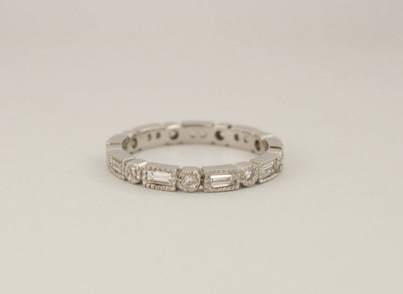 Baguette & Round Diamond Milgrain Bezel Eternity Ring in Platinum