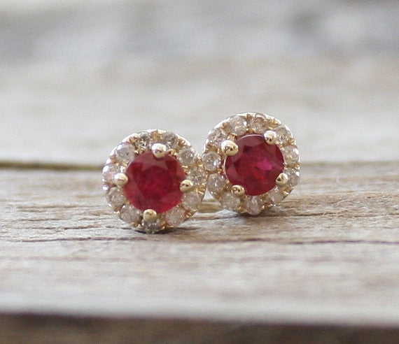Ruby Diamond Halo Earrings in 14K Yellow Gold