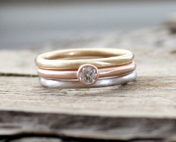 SET - 3 Band Diamond Stacking Rings in your choice of 14K Gold Combination