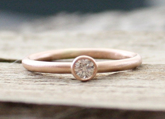 Diamond Engagement Ring- Solid 14k Rose Gold- Conflict Free 100% Natural Diamond